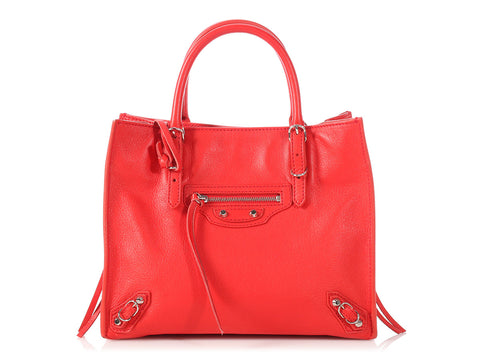 Balenciaga Mini Red Papier A4 Side Zip Tote