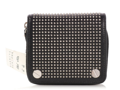 Balenciaga Small Black Studded Zip Wallet