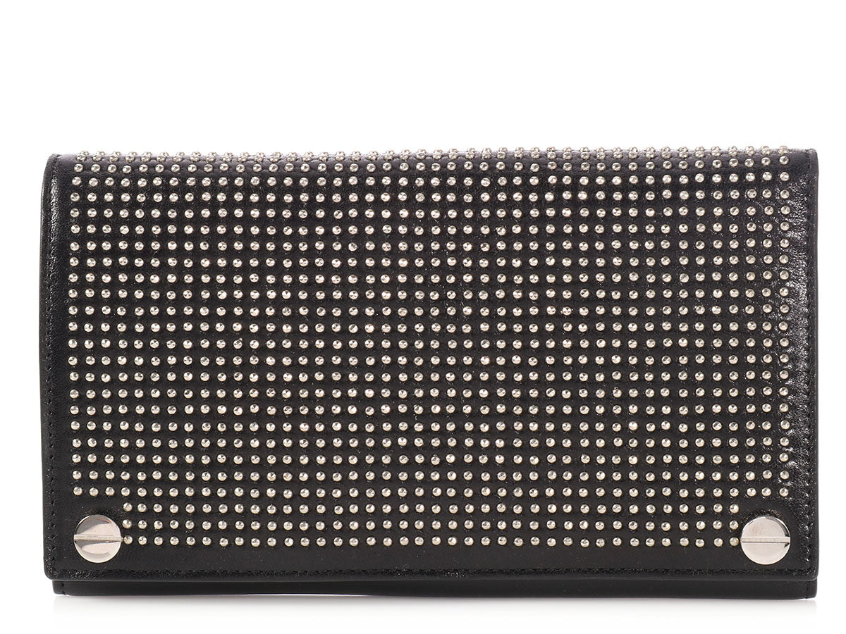 Balenciaga 2017 Long Black Studded Agneau Wallet