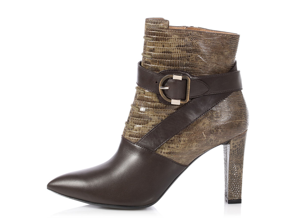 Balenciaga Olive Lizard and Dark Gray Leather Ankle Boots