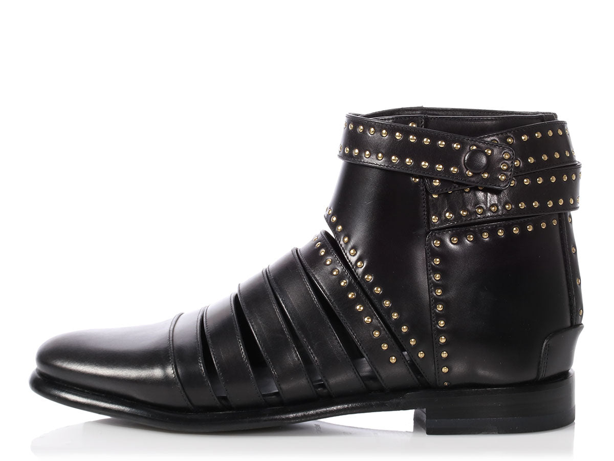 Balenciaga Black Studded Cut Out Ankle Boots