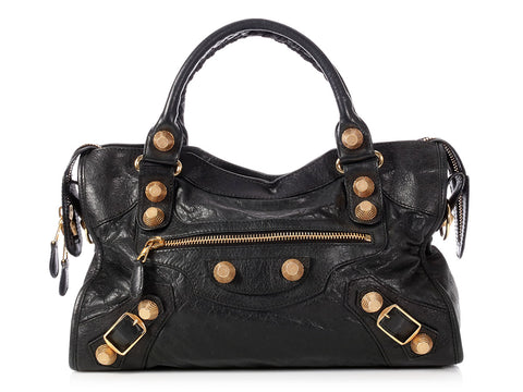 Balenciaga 2011 Black Agneau Giant 21 Gold City