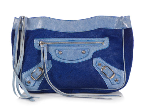 Balenciaga Blue Calf Hair Trousse Maquillage