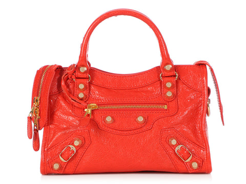 Balenciaga 2015 Mini Red Agneau Giant 12 Gold City