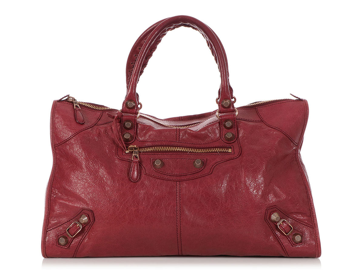f2841e8977a Balenciaga Burgundy Giant 12 Rose Gold Work