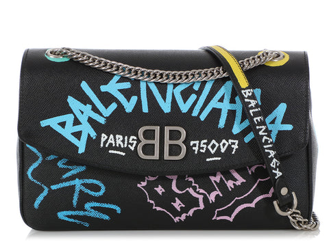 Balenciaga Black BB Chain S Graffiti Flap