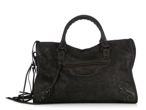 Balenciaga Limited Edition Black Shimmer Craquele Suede Classic City