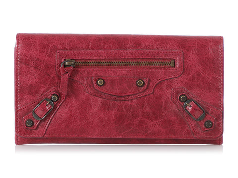 Balenciaga Dark Red Classic Continental Wallet