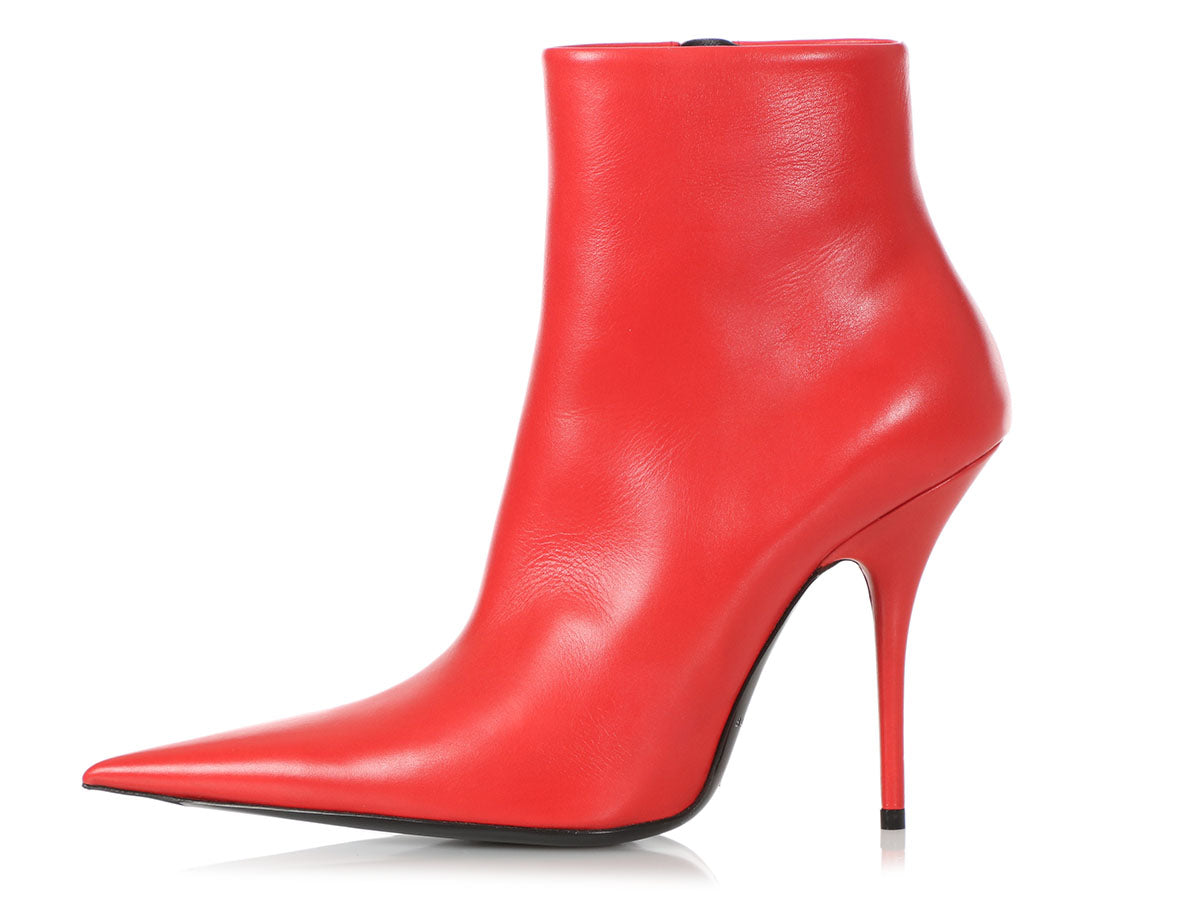 Balenciaga Red Leather Knife Ankle Boots