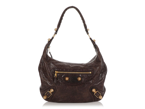 Balenciaga Brown Giant Gold 21 Hobo