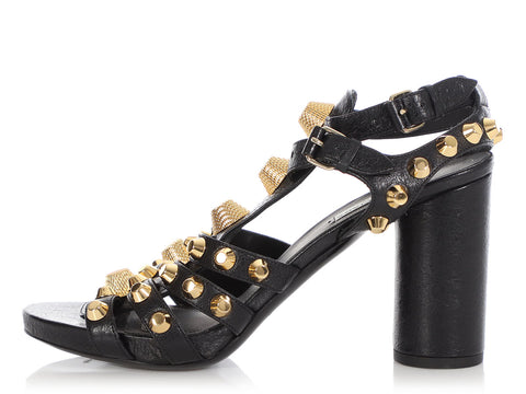 Balenciaga Black Giant Gold 21 Sandals