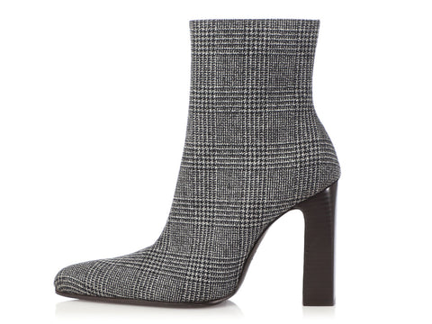 Balenciaga Black and Gray Tweed Ankle Boots