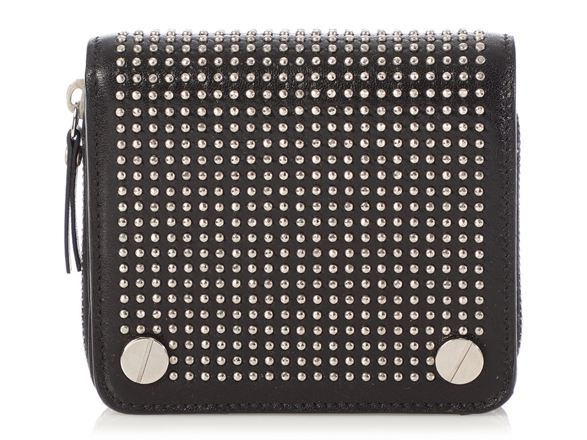 Balenciaga Compact Black Leather Studded Wallet