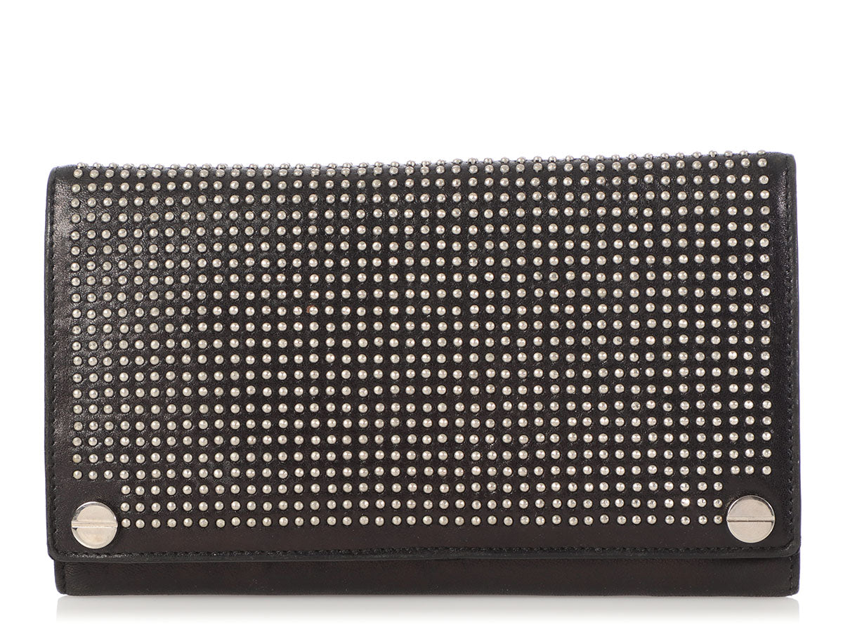 Balenciaga Large Black Leather Studded Wallet
