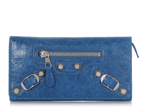 Balenciaga 2008 Electric Blue Agneau Giant 12 Silver Money Wallet