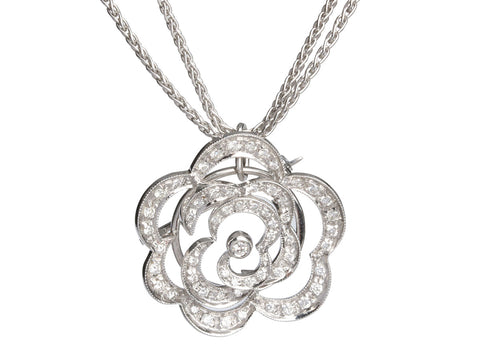 Bibigi 18K White Gold Diamond Camellia Brooch/Pendant