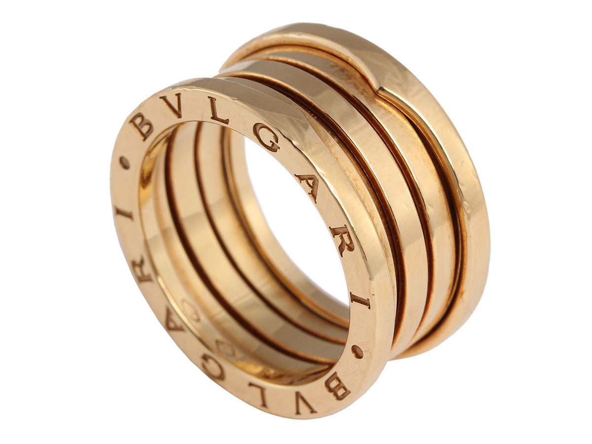 Bulgari 18K Yellow Gold Three Row B.zero1 Ring