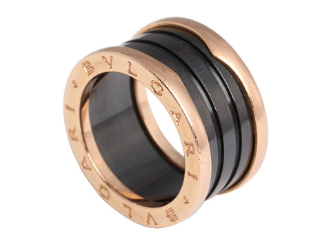 Bulgari 18K Rose Gold and Black Ceramic B.zero 1 Ring