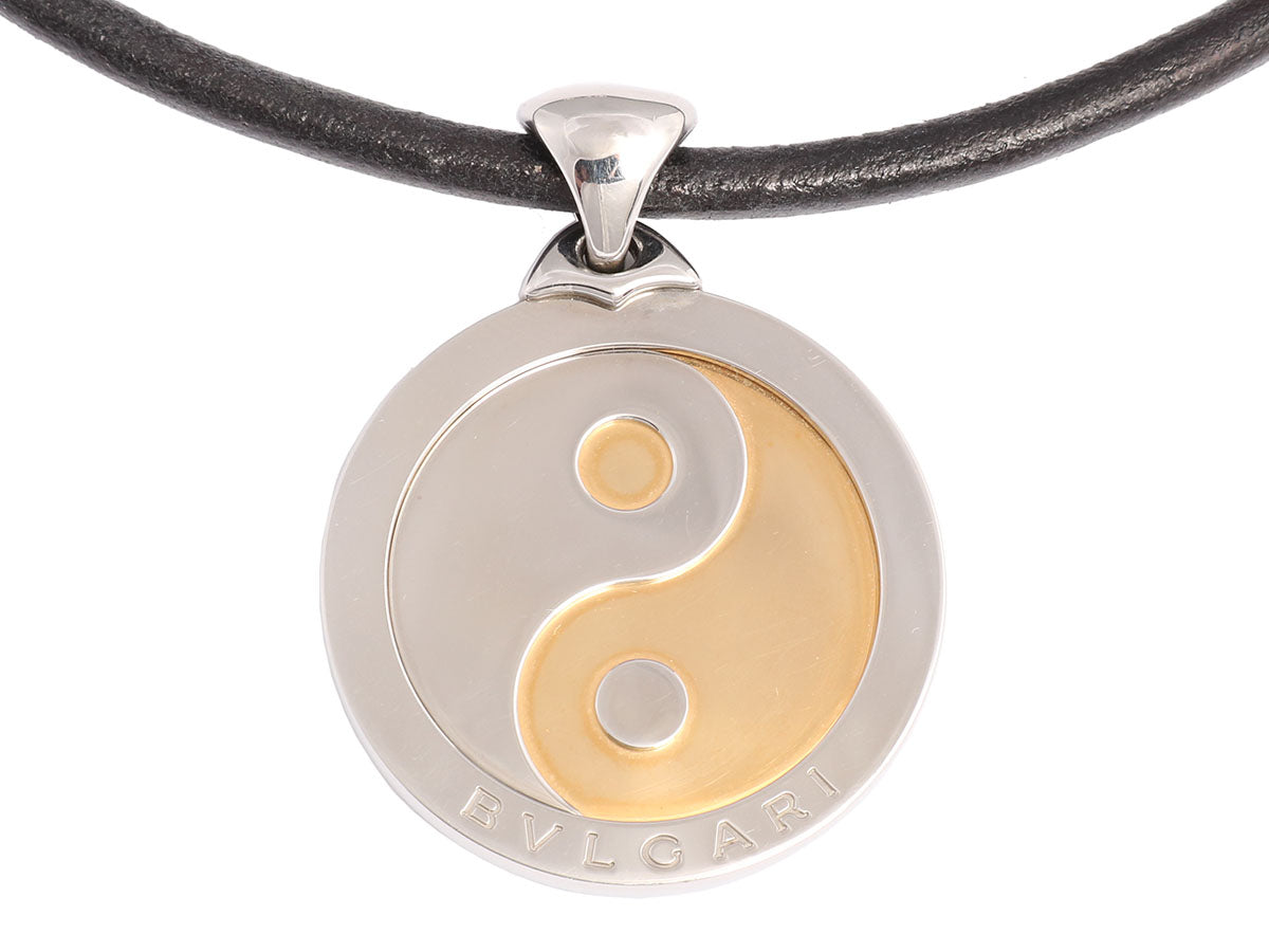 Bulgari Tondo Stainless Steel and 18K Gold Yin Yang Necklace