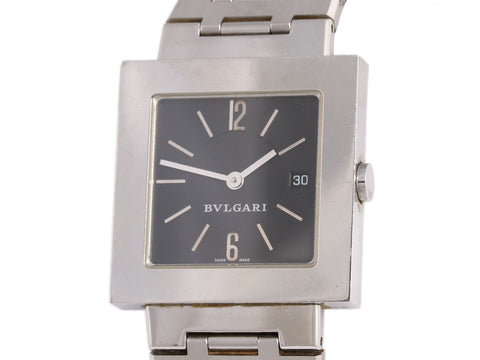 Bulgari Mens Stainless Steel Quadrato Watch 29mm