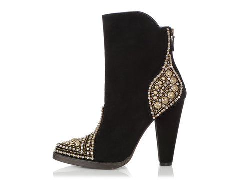 Balmain Black Suede Bejeweled Cowgirl Booties