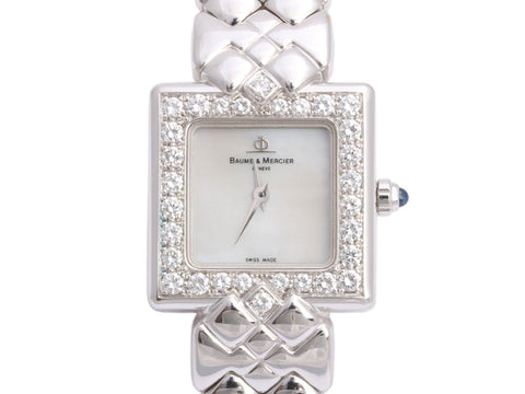 Baume & Mercier 18K White Gold Diamond Ladies Watch 21mm