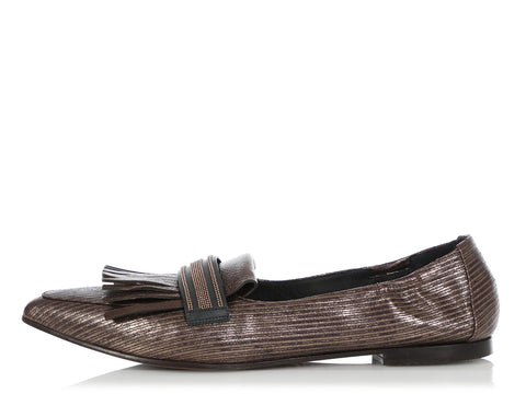Brunello Cucinelli Bronze Pointed Toe Loafers