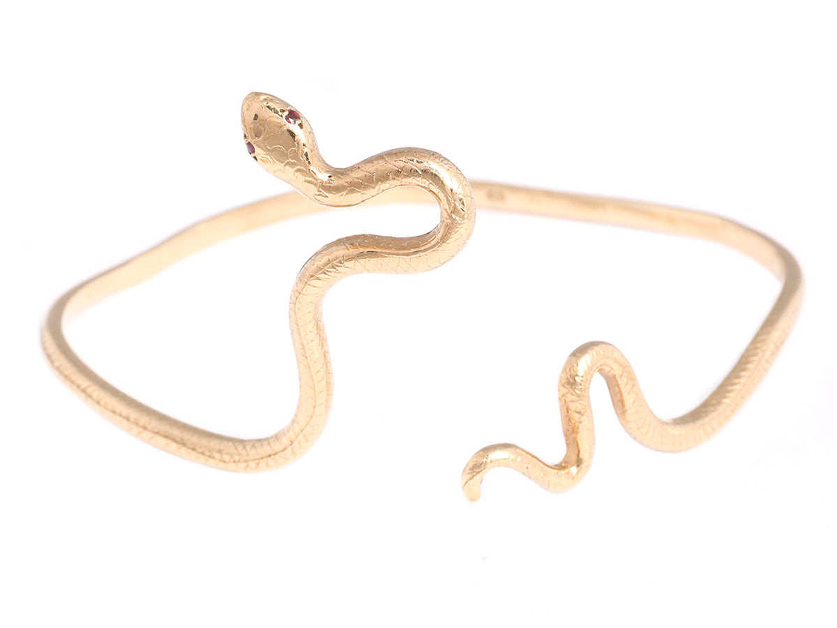 9K Yellow Gold and Ruby Snake Bracelet