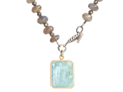 18K Yellow Gold and Sterling Silver Labradorite, Pyrite, and Aqua Charm Bracelet