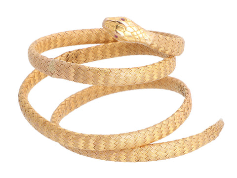 Vintage 14K Yellow Gold and Ruby Snake Wrap Bracelet