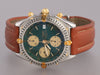 Breitling Mens Stainless 18K Gold Leather Chronomat Watch 40mm