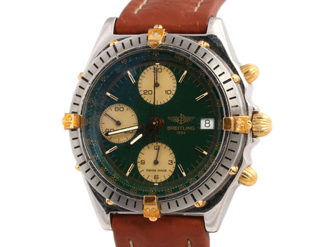 Breitling Mens Sterling Silver, 18K Gold, and Leather Chronomat Watch 40mm