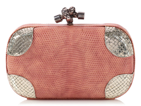 Bottega Veneta Dusty Rose Quarzo Chiaro Lizard Knot
