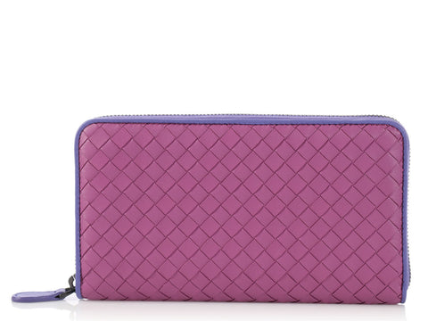Bottega Veneta Peony and Lavender Zip Around Continental Wallet