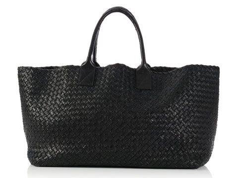 Bottega Veneta Large Black Ostrich Cabas