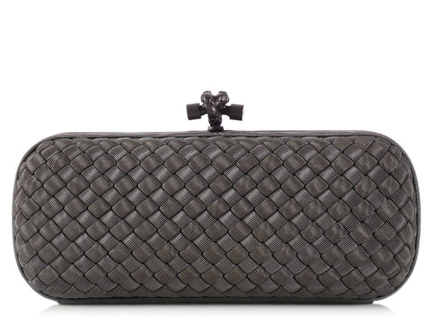 Bottega Veneta Dark Gray Fabric Knot Clutch