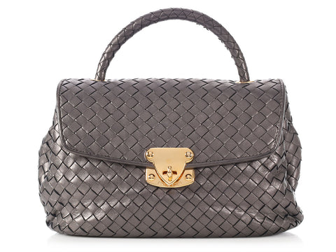 Bottega Veneta Dark Silver Metallic Bag