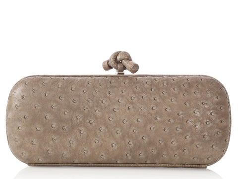 Bottega Veneta Taupe/Gray Elongated Ostrich Knot Clutch