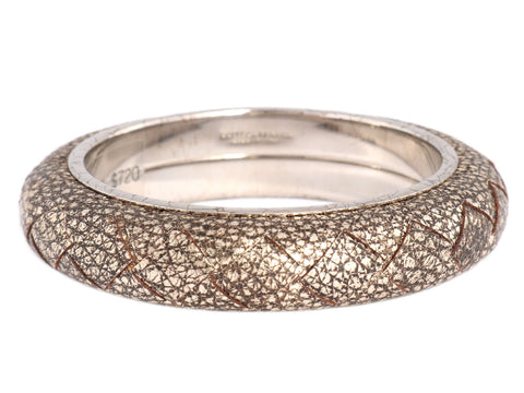 Bottega Veneta Bronze Woven Leather Bangle