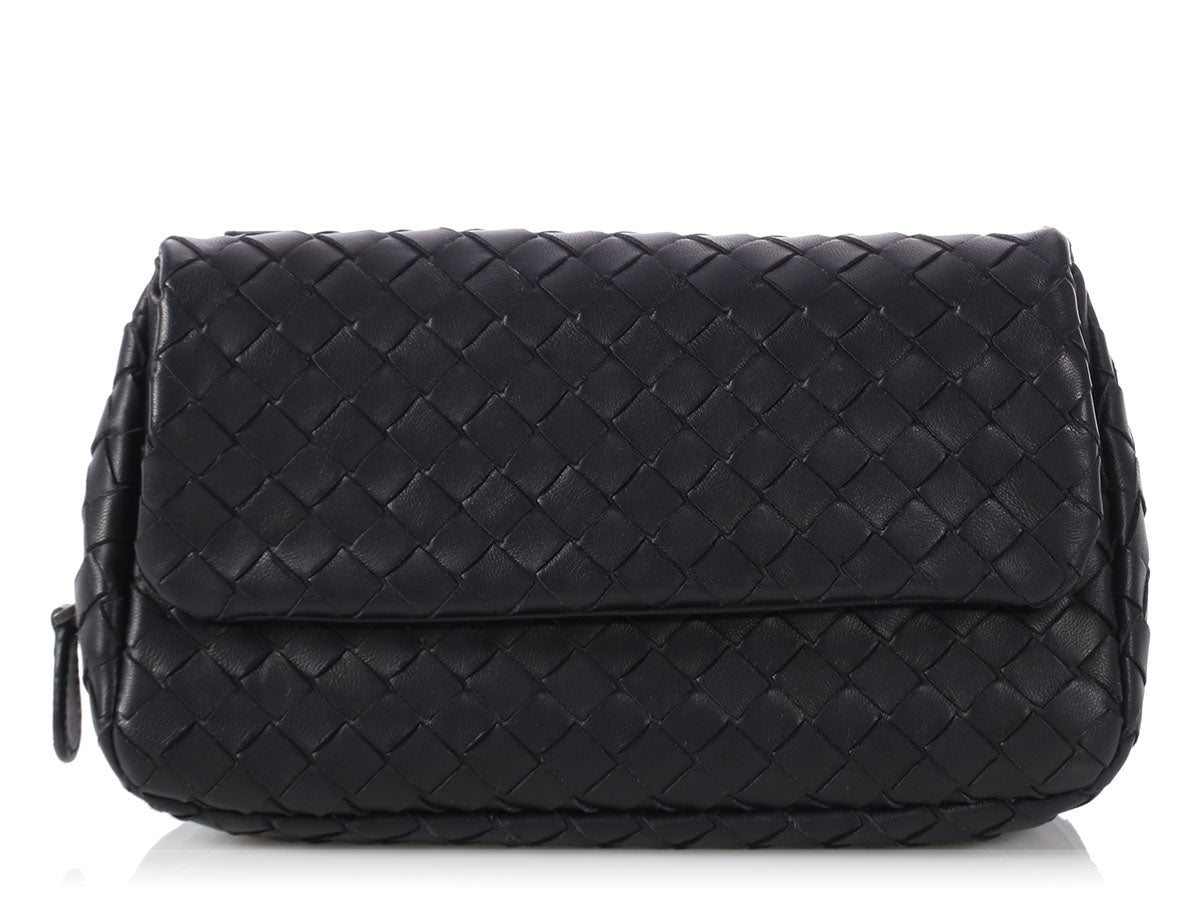 Bottega Veneta Black Mini Intrecciato Messenger
