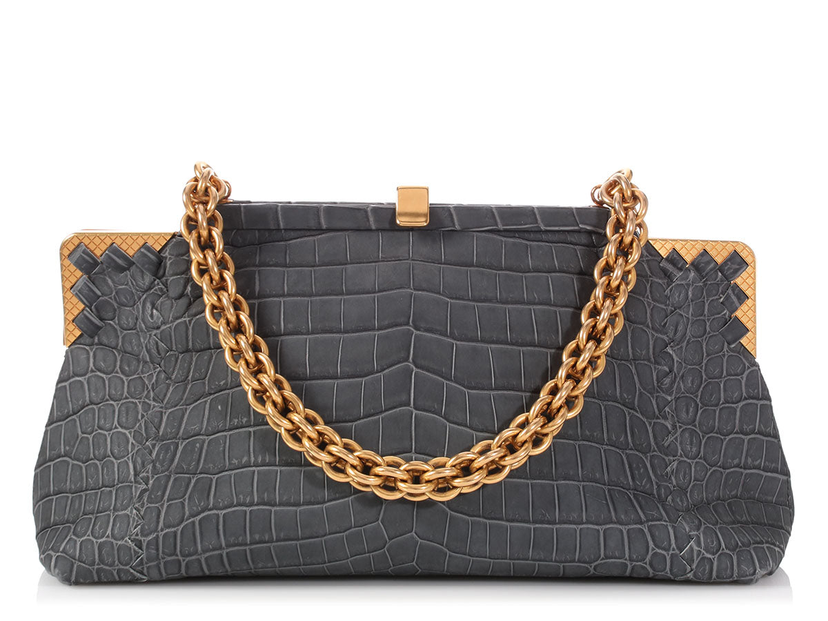 Bottega Veneta Ardoise Crocodile Sable Vendome Bag