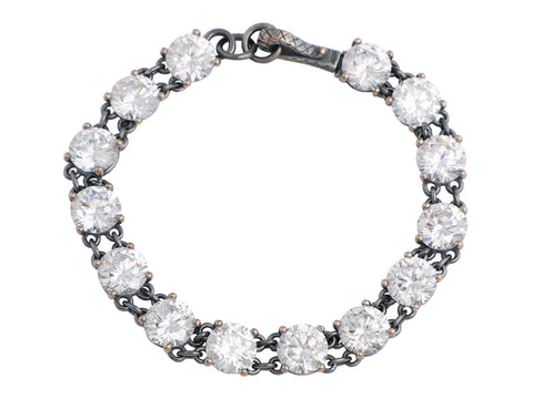 Bottega Veneta Sterling Silver and Crystal Pepita Bracelet