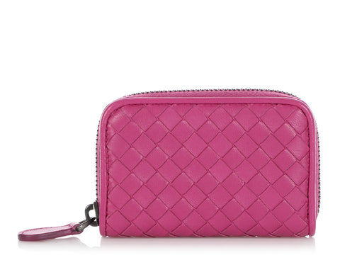 Bottega Veneta Ametiste Intrecciato Zip Around Coin Case