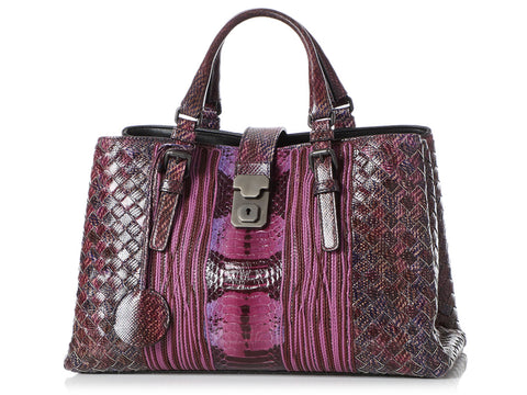 Bottega Veneta Small Purple Karung and Elaphe Roma Bag