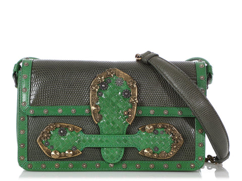 Bottega Veneta 50th Anniversary Shamrock Goatskin and Lizard Rialtina Bag