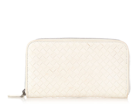 Bottega Veneta Ivory Zip Around Wallet