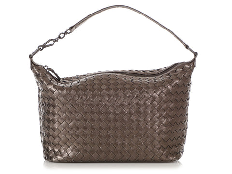 Bottega Veneta Small Metallic Pewter Shoulder Bag