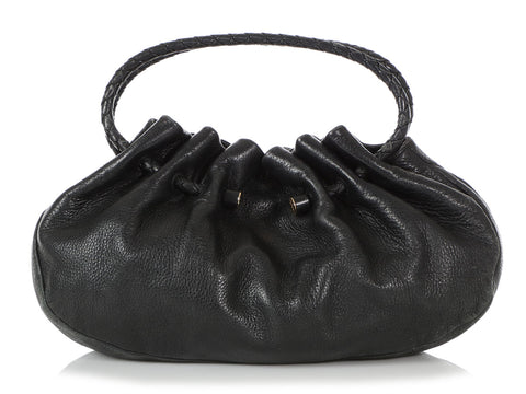 Bottega Veneta Black Gathered Leather Bag