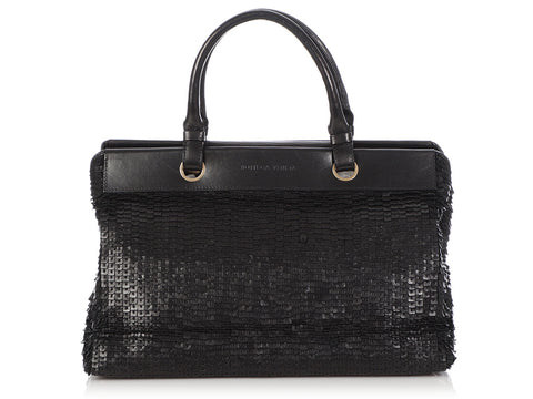 Bottega Veneta Vintage Black Leather Sequin Top Handle Bag