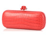 Bottega Veneta Red Crocodile Elongated Knot Clutch
